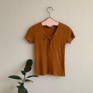 Zara Mustard Ribbed Lace Front Short Sleeve Shirt
